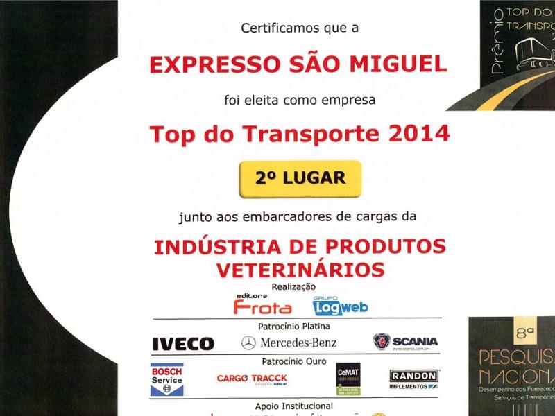 2a COLOCAÇÃO TOP DE TRANSPORTE 2014 - INDUSTRIS DE PRODUTOS VETERINARIOS