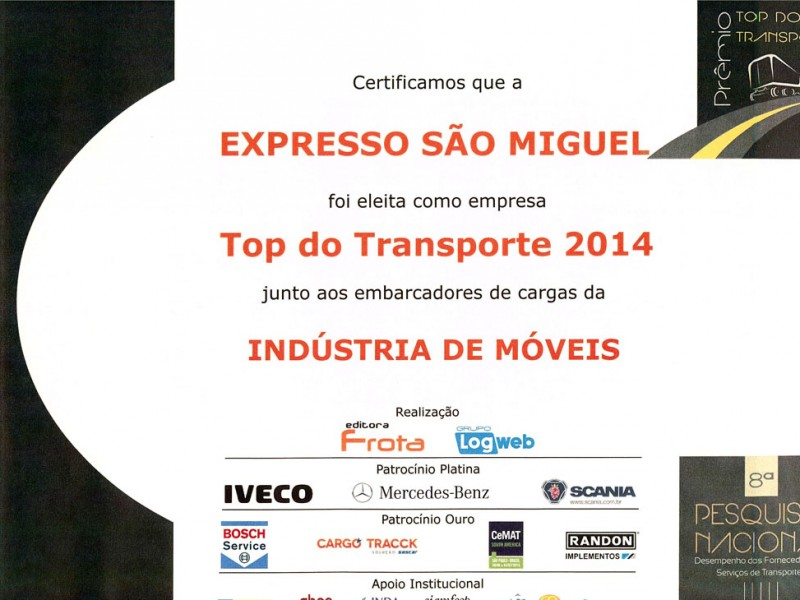 TOP TRANSPORTE 2014 - INDUSTRIA DE MOVEIS